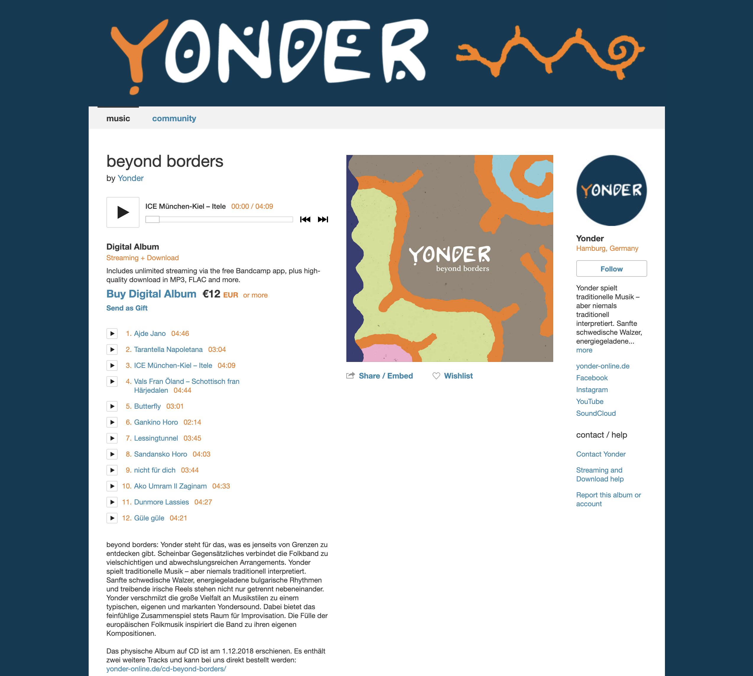 Yonder bei Bandcamp